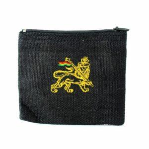 Purse Hemp Black Lion of Judah Zip กระเป๋าใส่เหรียญราสต้าใยกัญชาสีดำ ปักลาย LION