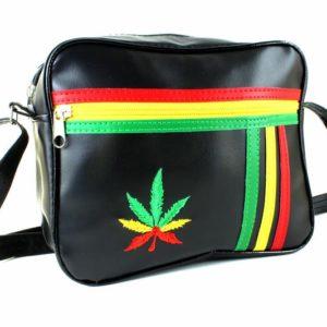 Bag Vinyl Black Style Lacoste Travel กระเป๋า Rasta Colors Cannabis Leaf Fake Lea