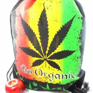 """Backpack Cannabis Organic Drawstring Strong Light Fabric กระเป๋าเป้สะพายหลัง """"ลา"""