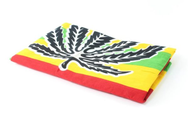 ผ้าโพกศรีษะสีสดใส Rasta Bandana Cannabis Leaf Red Yellow Green Kerchief