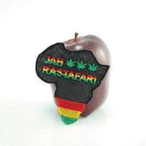 Patch Africa Jah Rastafari อาร์มติดเสื้อรูปประเทศแอฟริกา ปักลาย JAH RASTAFARI