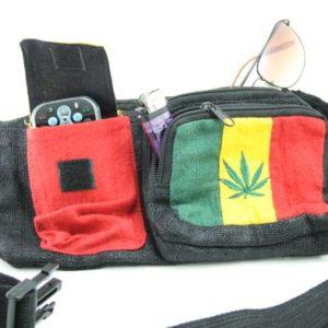 Bag Waist Hemp Pockets Marijuana Rasta Colors กระเป๋าราสต้าใยกัญชาแบบคาดเอว ปัก