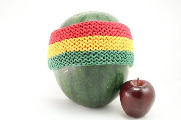 Headband Rasta Colors 3 Inches โครเชต์สไตล์ราสต้า-เรกเก้ แดง-เหลือง-เขียว