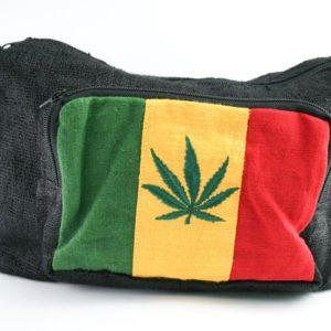 Bag Hemp Big Size Shoulder Cannabis Leaf กระเป๋าสะพายราสต้าใยกัญชา ปักลาย GANJA
