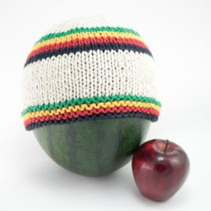 Beanie White Short Forehead and Middle Stripes Green Yellow Red Black หมวกถักราส