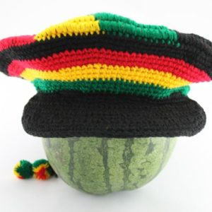 Tam Rasta Visor Swirl Pattern Green Yellow Red หมวก CROCHET RASTA สีสัญลักษณ์ราส
