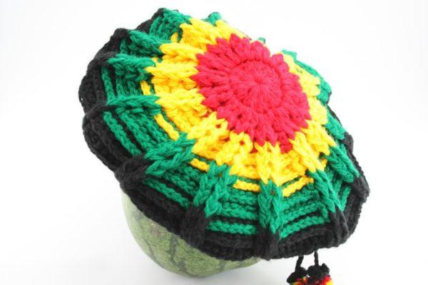 Tam Rasta Visor Spider Pattern Green Yellow Red หมวก CROCHET RASTA สีสัญลักษณ์รา