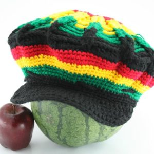 Tam Rasta Visor Spider Pattern Green Yellow Red หมวก CROCHET RASTA สีสัญลักษณ์รา
