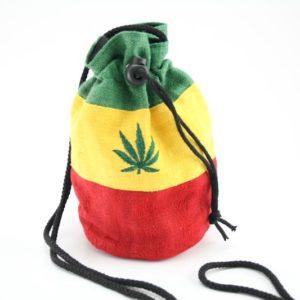 Bag Purse Hemp Big Ganja Leaf กระเป๋าราสต้าใยกัญชาทรงกลมหูรูด ปักลาย MARIJUANA L
