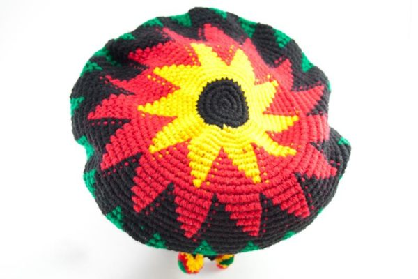 Tam Rasta Visor Red Sun Pattern หมวกโครเชต์ราสต้า-เรกเก้ ดีไซน์เป็นรูปดอกทานตะวั