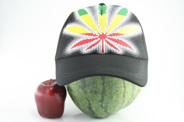 Cap Black Color Rasta Marijuana Leaf หมวกแก๊ปราสต้าสีดำ ลายใบกัญชาใบใหญ่สีราสต้า
