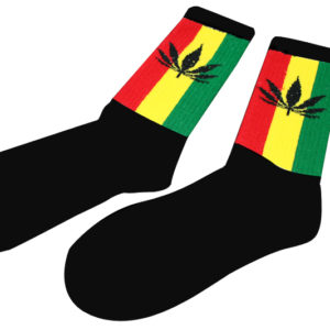 Long Socks Black Marijuana Leaf Green Yellow Red Stripes