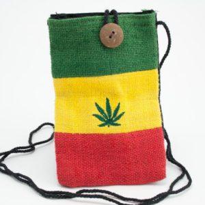 Bag Passport Hemp Marijuana Button กระเป๋าราสต้าใยกัญชาลายขวาง ปักลาย MARIJUANA