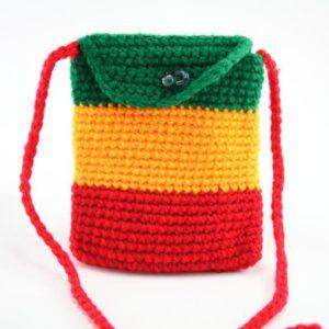 Bag Mobile Rasta Knitted Shoulder Button กระเป๋าสะพายโครเชต์ราสต้าทรงสี่เหลี่ยม