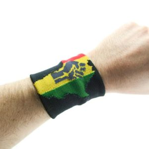 AFRICAN MAP BLACK WRISTBAND GREY FIST