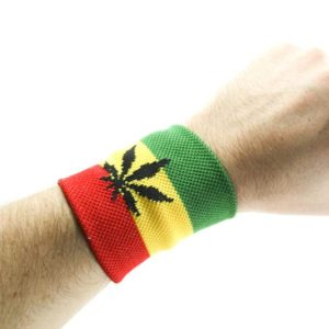 BLACK MARIJUANA WRISTBAND GREEN YELLOW RED RASTA STRIPES