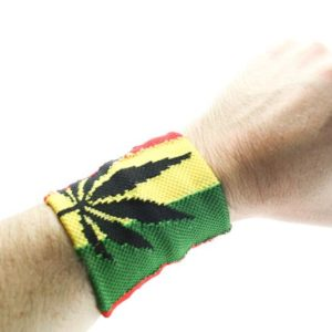 BLACK MARIJUANA WRISTBAND RASTA STRIPE COLORS