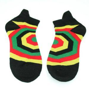ถุงเท้าสไตล์ RASTA-REGGAE สีเขียวเหลืองแดงดำ ลายใยแมงมุม