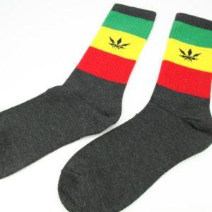 ถุงเท้า RASTA แบบยาว สีดำ ลายใบกัญชา