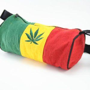 Bag Hemp Tube Small Size Cannabis Leaf กระเป๋าสะพายใยกัญชาทรงยาว ปักลาย MARIJUAN