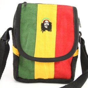 Bag Hemp Shoulder Rastaman Velcro Zip กระเป๋าสะพายใยกัญชา BOB MARLEY ใส่ของได้