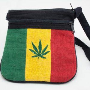 Bag Hemp Cannabis Leaf Shoulder Zip กระเป๋าราสต้าลายใบกัญชาสไตล์ราสต้า-เรกเก้ ขน
