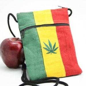 Bag Passport Hemp Weed Leaf Zip กระเป๋าราสต้าใยกัญชาใส่พาสปอร์ต ปักลาย MARIJUA