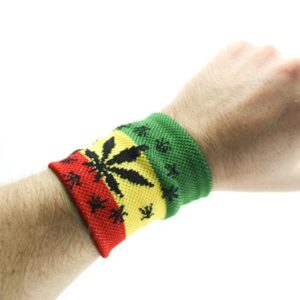 MARIJUANA LEAF RASTA WRISTBAND GREEN YELLOW RED STRIPES