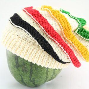 Beanie White Long Stripes Green Yellow Red Black หมวกถักทรงเห็ดสไตล์ราสต้า-เรกเก
