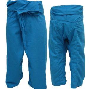 Trousers Thai Fisherman Pants Blue กางเกงชาวเลสไตล์ราสต้า-เรกเก้ สีฟ้า ใส่ได้ทุก