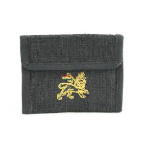 Wallet Black Hemp Cannabis Leaf Velcro Zip กระเป๋าสตางค์ราสต้าใยกัญชาสีดำสุดเท่ห