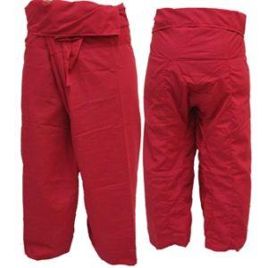 Trousers Thai Fisherman Pants Red กางเกงชาวเลสไตล์ราสต้า-เรกเก้ สีแดงสด สุดฮอท