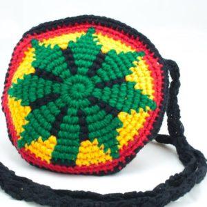 Bag Circle Knitted Ganja Shoulder Zip กระเป๋าสะพายโครเชต์ราสต้าทรงกลม ลายใบกัญช