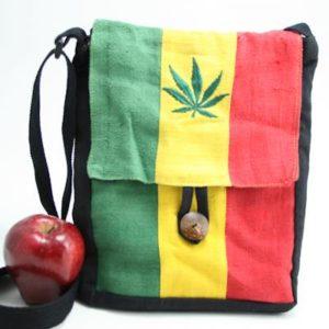 Bag Hemp Flat Shoulder Cannabis Button กระเป๋าราสต้าใยกัญชา ปักลาย MARIJUANA LEA