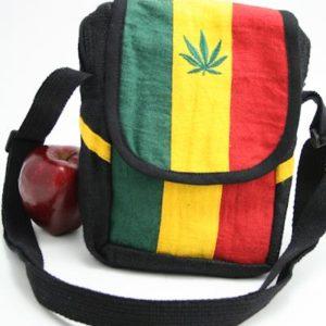 Bag Hemp Shoulder Cannabis Leaf Velcro Zip กระเป๋าสะพายราสต้าใยกัญชา ใส่ของได้ 2