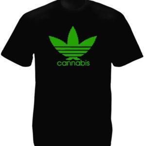 Adidas Cannabis Logo Black Tee-Shirt เสื้อยืดสีดำสกรีนลายโลโก้ Adidas ใบกัญชาสีเ