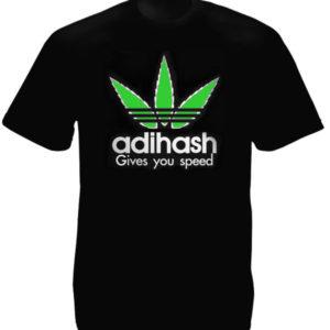 Adihash Gives you Speed Black Tee-Shirt เสื้อสีดำสุดเท่ห์สกรีนลายใบกัญชา Adihash