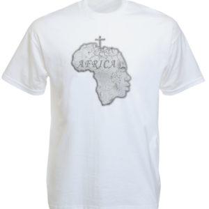 เสื้อยืดสีขาวลายแผนที่ทวีป Africa และลาย Human Head