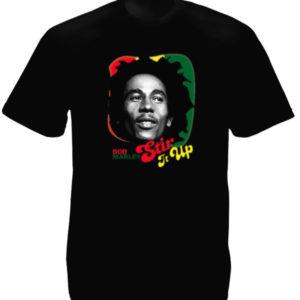 เสื้อยืดราสต้าสีดำ Stir It Up Bob Marley