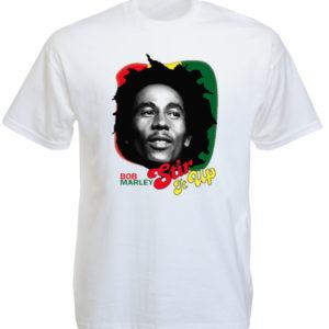 เสื้อยืดสีขาวลาย Bob Marley Stir It Up