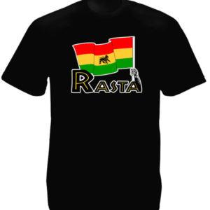 Green Yellow Red Lion Rasta Flag Black Tee-Shirt เสื้อยืดสีดำสกรีนลายสิงโตสีดำบน