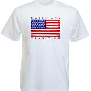 Marijuana Tradition USA Flag White Tee-Shirt เสื้อยืดสีขาวสกรีนลายธงสหรัฐอเมริกา