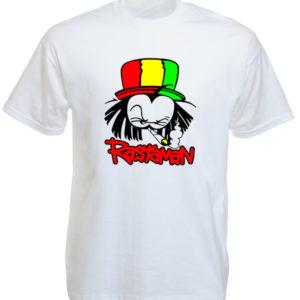 เสื้อยืดสีขาว Rasta Cartoon Dready Rastaman