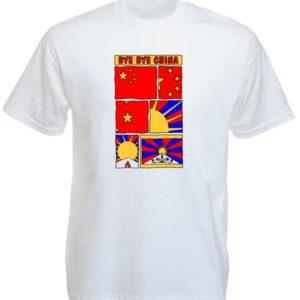 Free Tibet Bye Bye China White Tee-Shirt