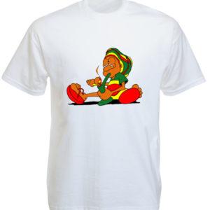 Rastaman Smoking Pipe White Tee-Shirt เสื้อยืดสีขาวลายการ์ตูนสุดน่ารัก Rastaman