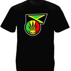 Ganja Leaf Jamaica Flag Black Tee-Shirt เสื้อยืดสีดำลายรูปธงจาไมก้า และโลโก้ใบกั
