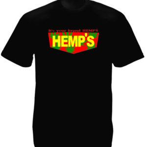 Hemp Brand Black Tee-Shirt เสื้อยืดคอกลมสีดำสกรีนลาย Hemp Brand สีสันสดใส