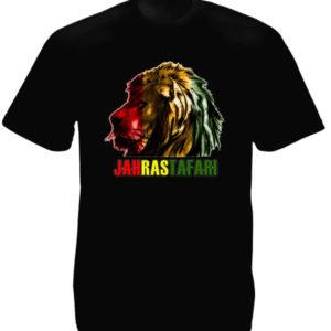 Jah Rastafari Lion Head Black Tee-Shirt เสื้อยืดคอกลมสีดำสกรีนลายหัวสิงโต สีราสต
