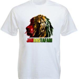 Jah Rastafari Lion Head White Tee-Shirt เสื้อยืดคอกลมสีขาวสกรีนลายหัวสิงโต สีราส