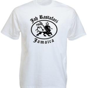 เสื้อยืดสีขาว Jah Rastafari ลายสิงโต